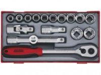 """18 dele Topnøglesæt. Med 1/2"""" □-fatning Teng Tools  TT1218-6"""
