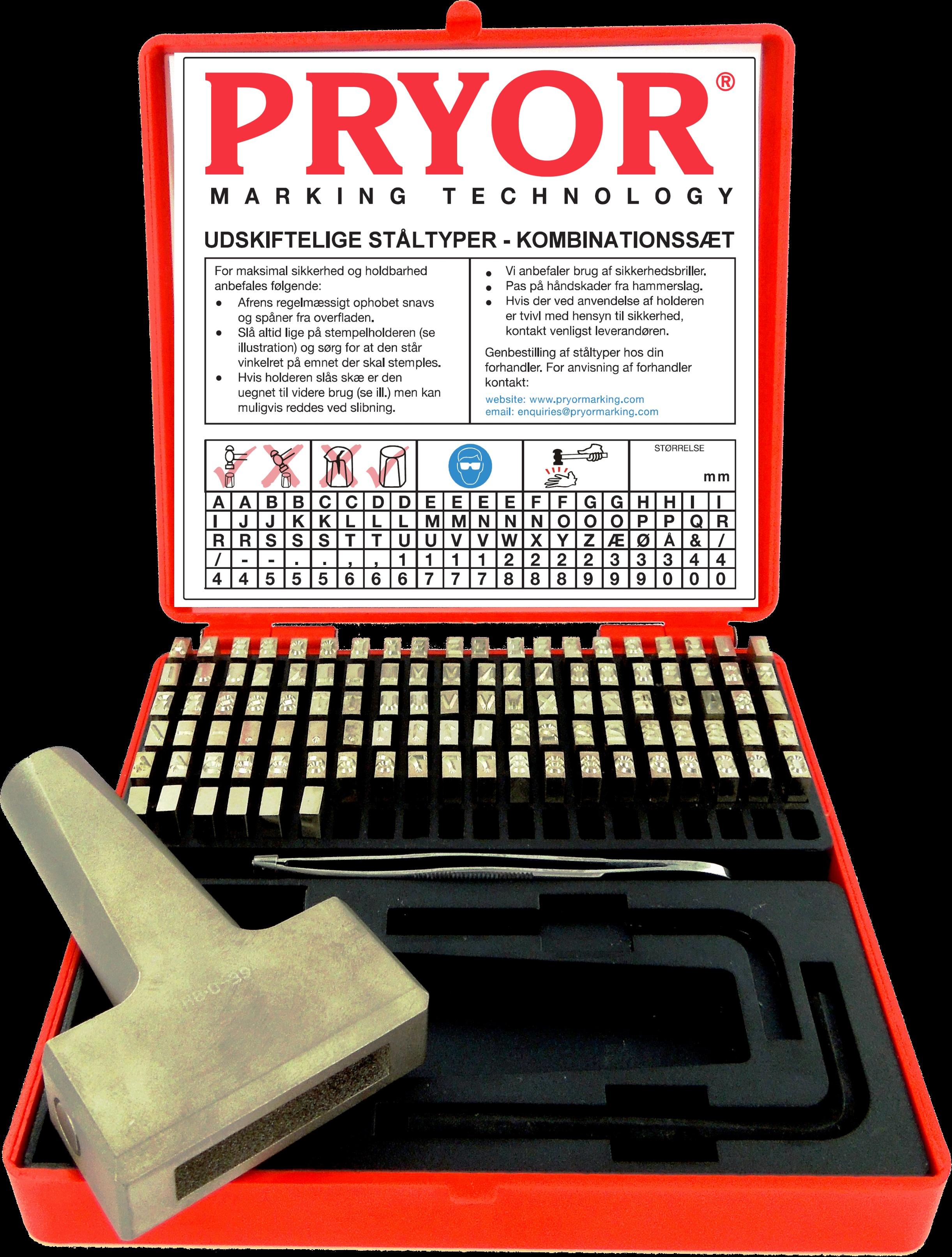 Pryor kombinationssæt - stålbogstaver og tal