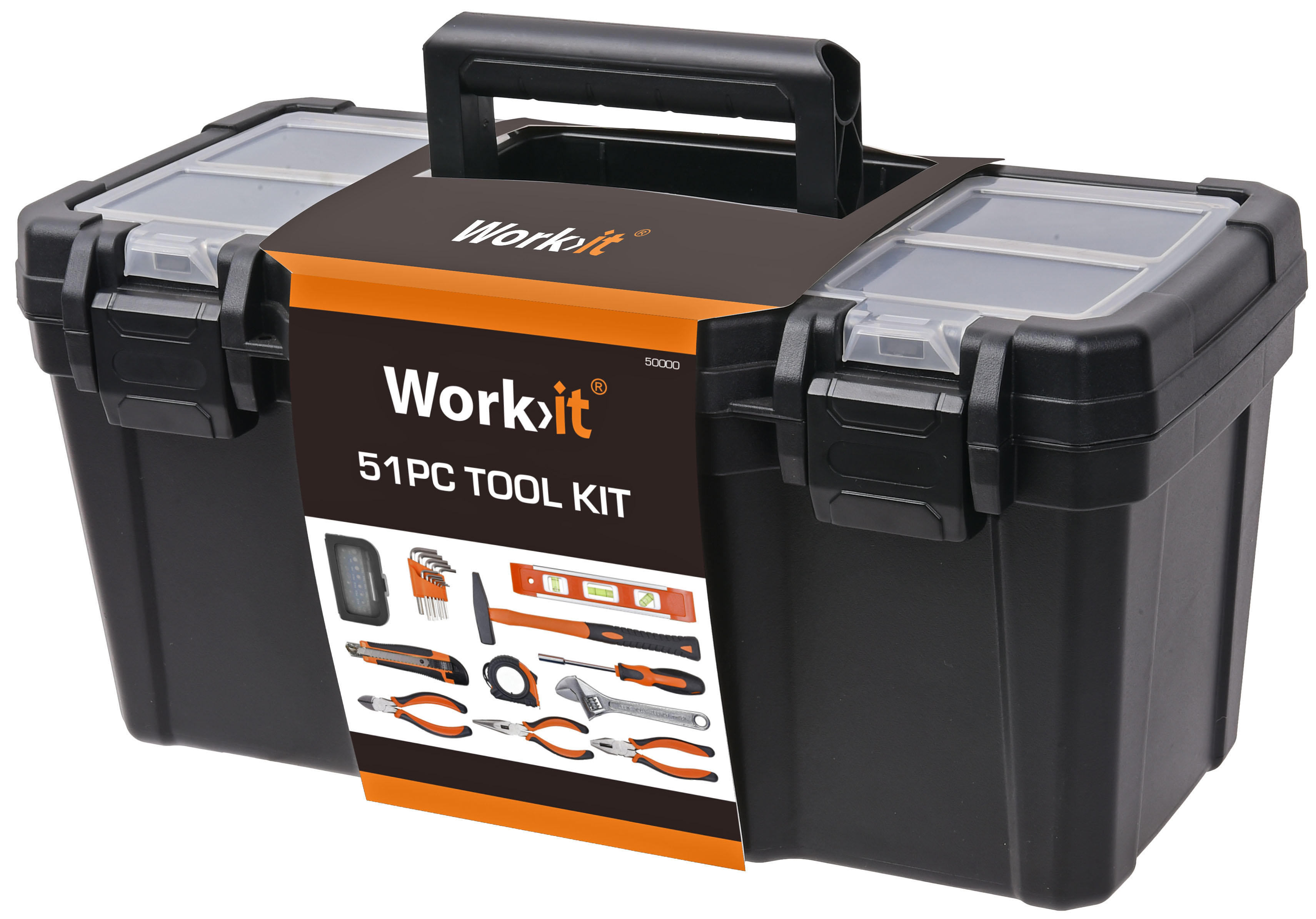 Værktøjssæt med værktøjskasse, 51 dele