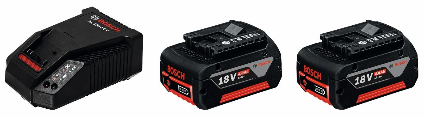 Image of   Startsæt 2 x GBA 18 V 4,0 Ah + AL 1860 CV Startsæt 2 x akkuer GBA 18 V 4,0 Ah + lader AL 1860 CV Professional