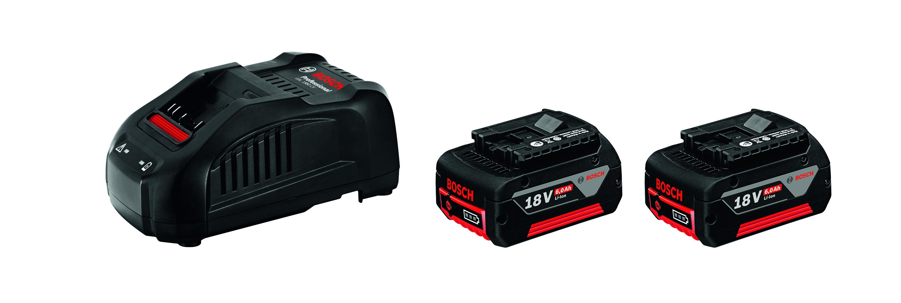 Image of   Startsæt 2 x GBA 18 V 6,0 Ah + GAL 1880 CV Startsæt 2 x akkuer GBA 18 V 6,0 Ah + lader GAL 1880 CV Professional