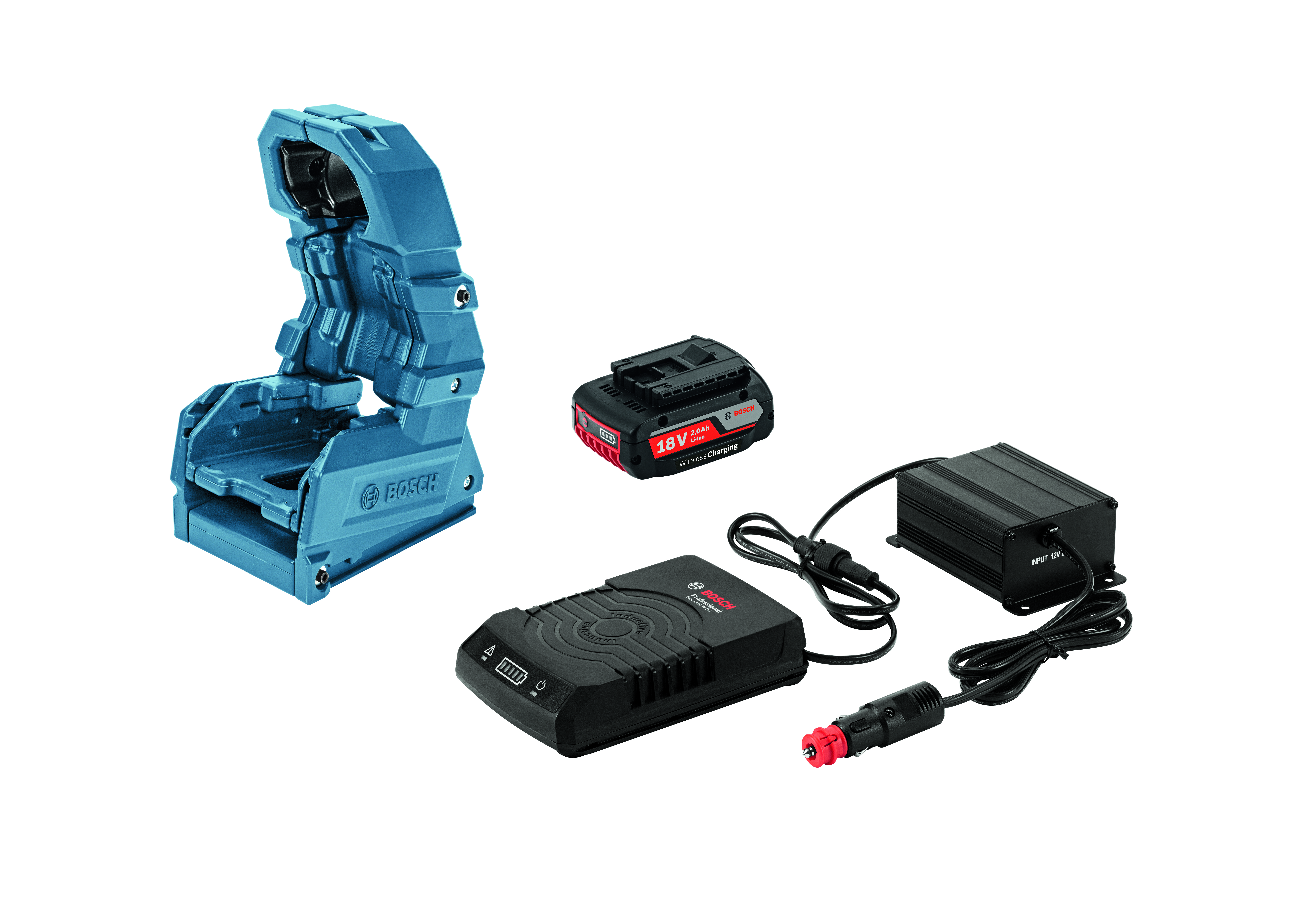 Image of   Bilsæt GBA 18 V 2,0 Ah W + GAL 1830 W-DC + Holster Wireless Charging Bilsæt Wireless Charging akku GBA 18 V 2,0 Ah W + lader GAL 1830 W-DC + Holster Professional