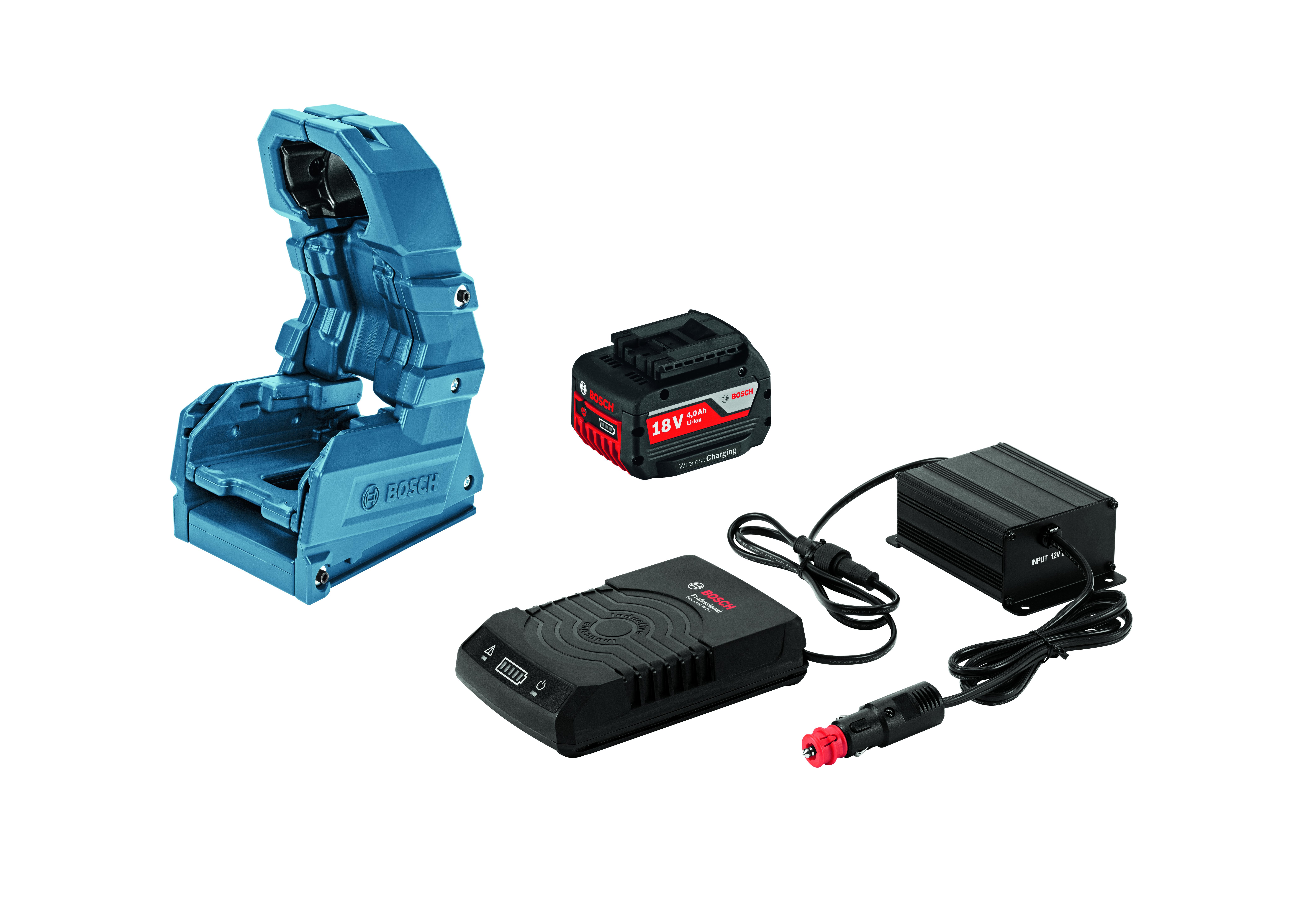 Image of   Bilsæt GBA 18 V 4,0 Ah W + GAL 1830 W-DC + Holster Wireless Charging Bilsæt Wireless Charging akku GBA 18 V 4,0 Ah W + lader GAL 1830 W-DC + Holster Professional