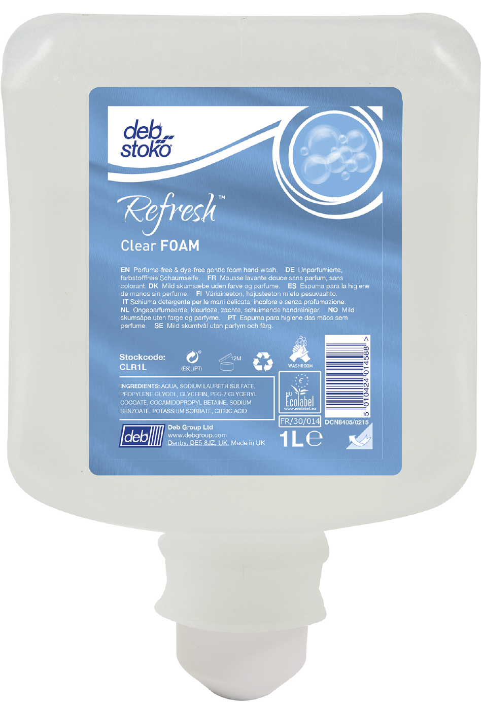 Image of   Sæbe skum refresh clear 1l
