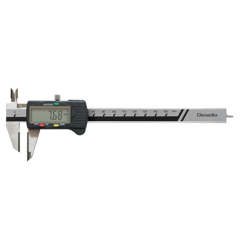 Diesella ridselære digital 0-150mm m/ hårdmetal måleflader