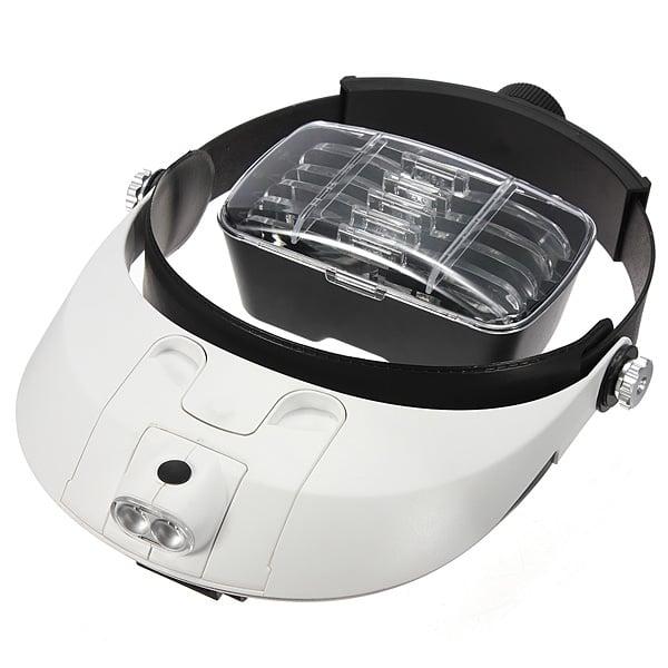 Pandelup med vipbar LED lys og 5 STK. udskiftelige linser (1,0X/1,5X/2,0X/2,5X/3,5X)
