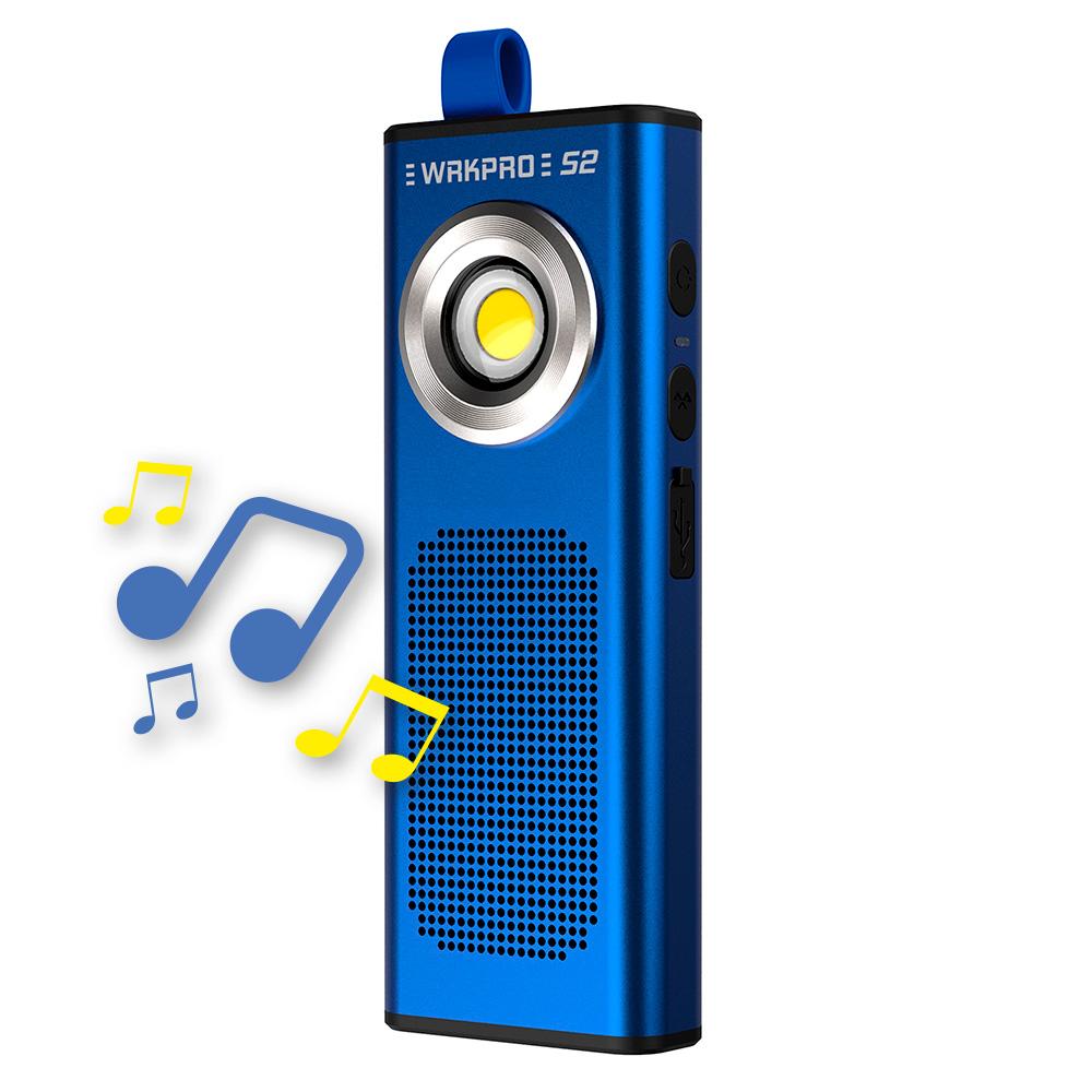 """WRKPRO arbejdslampe """"S2"""" COB LED med genopladeligt batteri og 5W Bluetooth højtaler"""