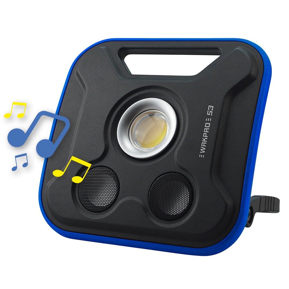 """WRKPRO arbejdslampe """"S3"""" 20W COB med genopladeligt batteri og 5W Bluetooth højtaler"""
