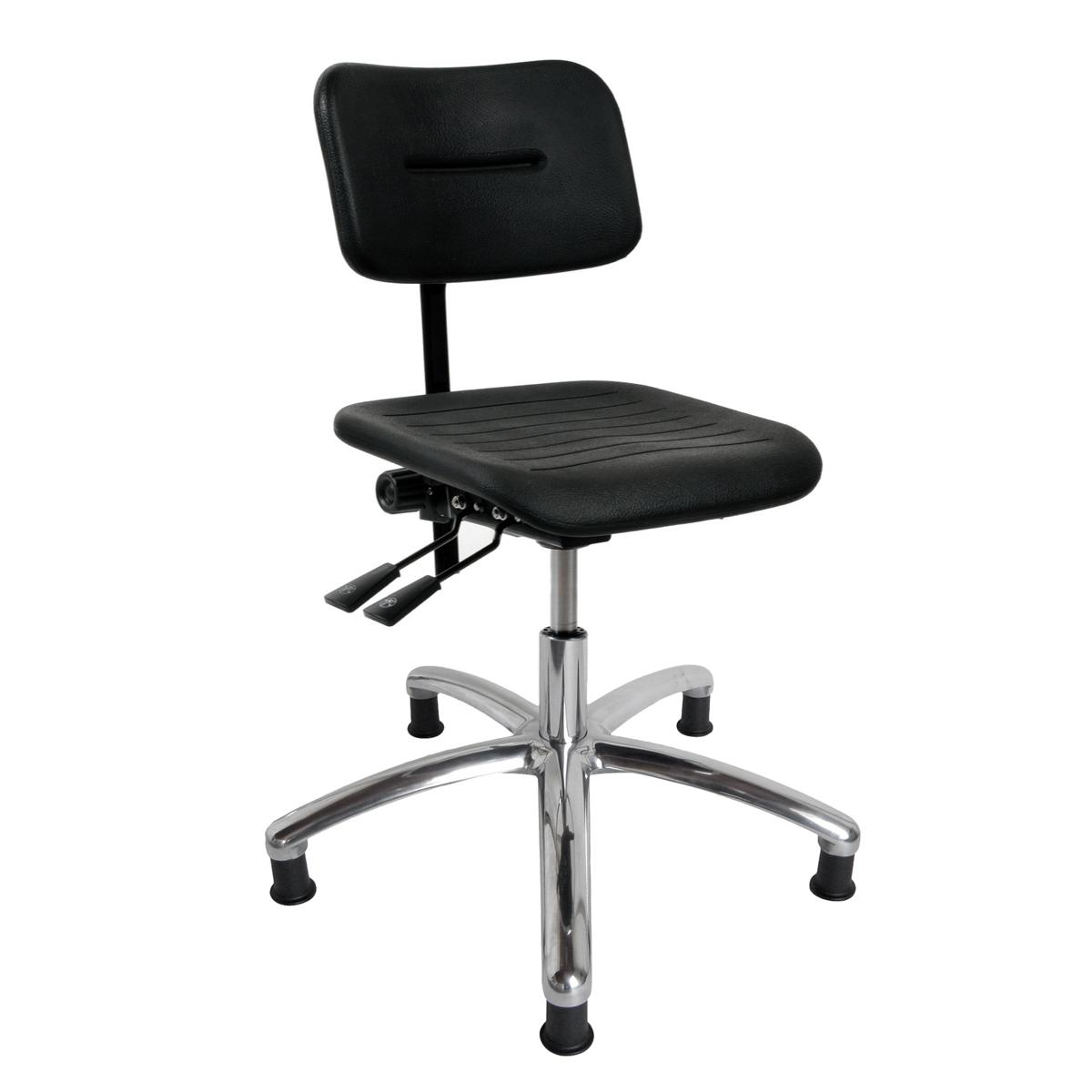 DYNAMO arbejdsstol med sæde/ryg i PU-skum, glidesko og indstilling af sæde- og ryg (600-860 mm)
