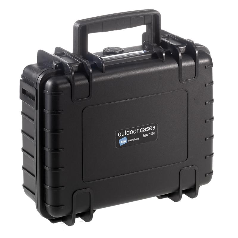 OUTDOOR kuffert i sort med polstret skillevæg 250 x 175 x 95 mm Volume: 4,1 L Model: 1000/B/RPD