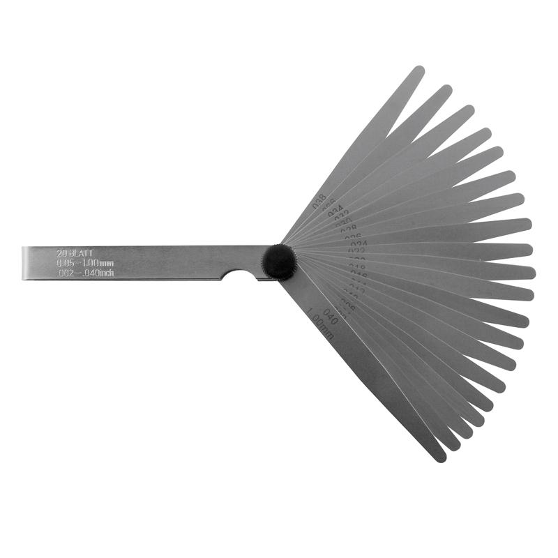 """Søgeblade sæt 20 blade, 100 mm 0,002 - 0,040"""" / 0,05-1,00 mm"""