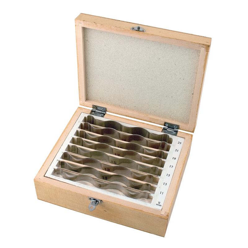 Image of   Bølgede parallelklodser 8 par 9-23 mm x 110 mm. 2 mm spring