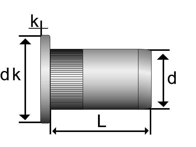 Image of   Blindnittemøtrik Essve 5x12 mm åben aluminium - 25 stk