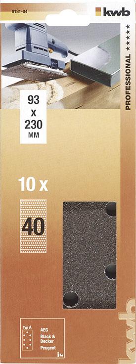 Slibepapir Korn 40 - 93 X 230  mm