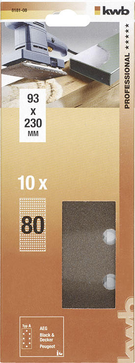 Slibepapir Korn 80 - 93 X 230  mm