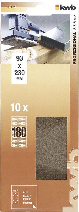 Slibepapir Korn 180 - 93 X 230  mm