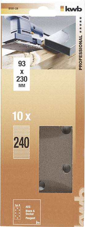 Slibepapir Korn 240 - 93 X 230  mm