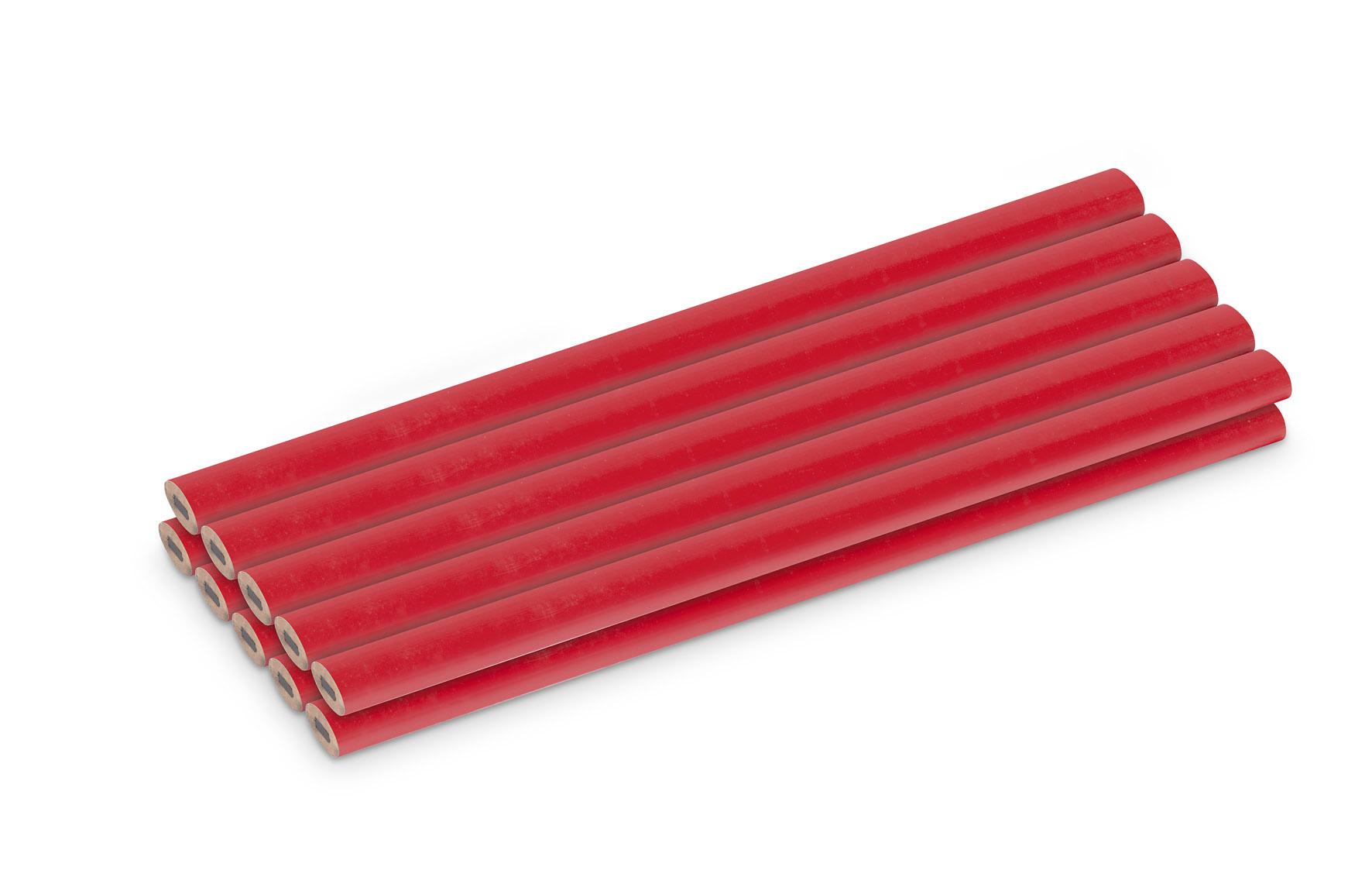 Image of   Tømrer blyant 177 mm rød - 10 stk