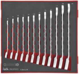 Ringgaffelnøglesæt med skralde med 12 dele. Teng Tools TED6512R
