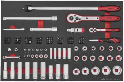 """Image of   Topnøglesæt med 126 dele med 1/4"""" og 1/2"""" firkantfatning Teng Tools TTESK126"""