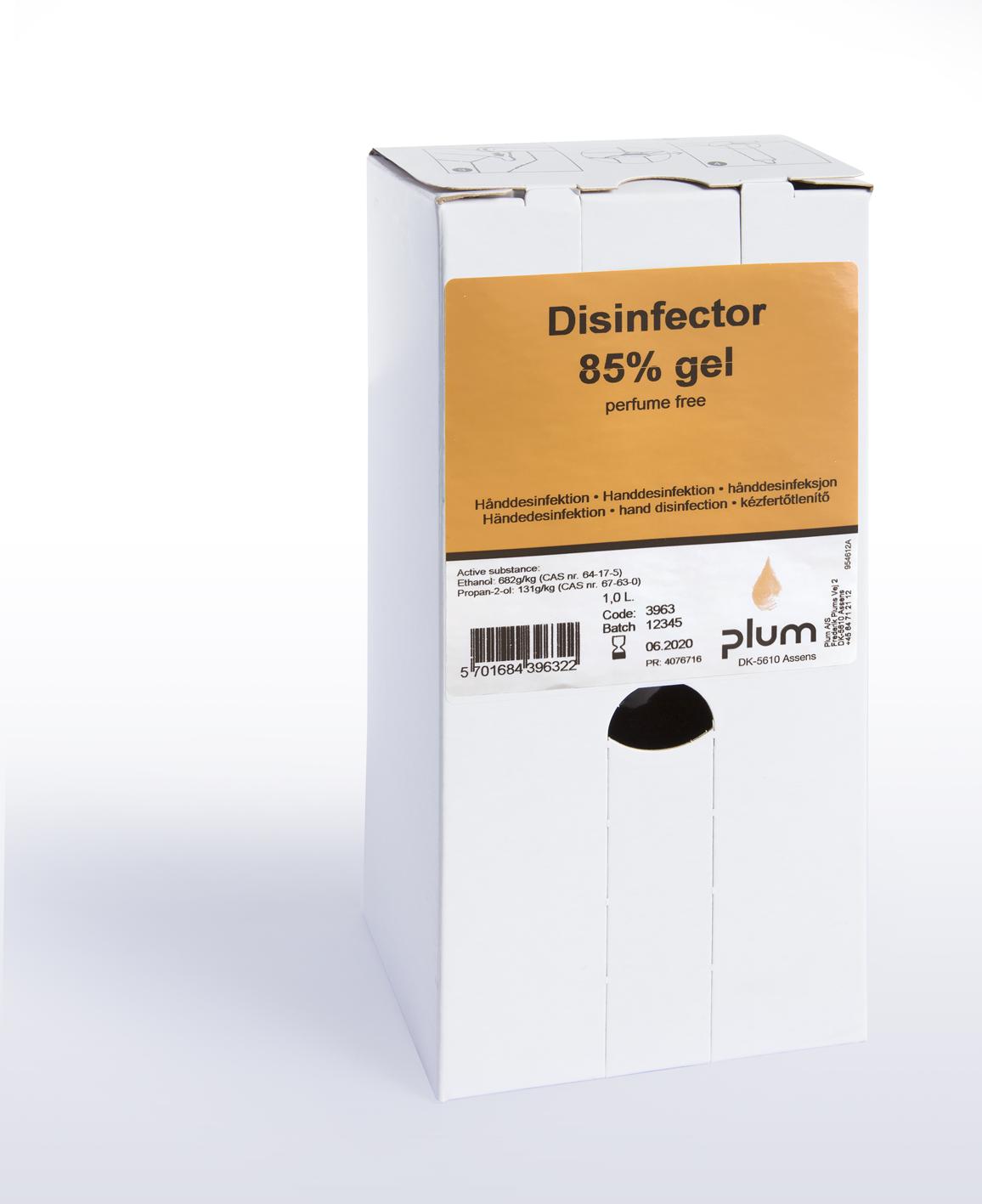 Desinfektion 85% gel 1 l bag in box Plum