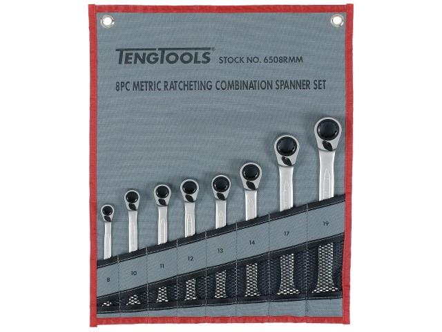 Ring-gaffelnøgler i sæt med skralde Teng Tools 6508RMM