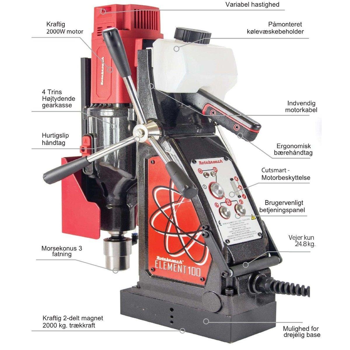 Image of   Rotabroach Magnetboremaskine Element E100 , kernebor max. Ø100 mm