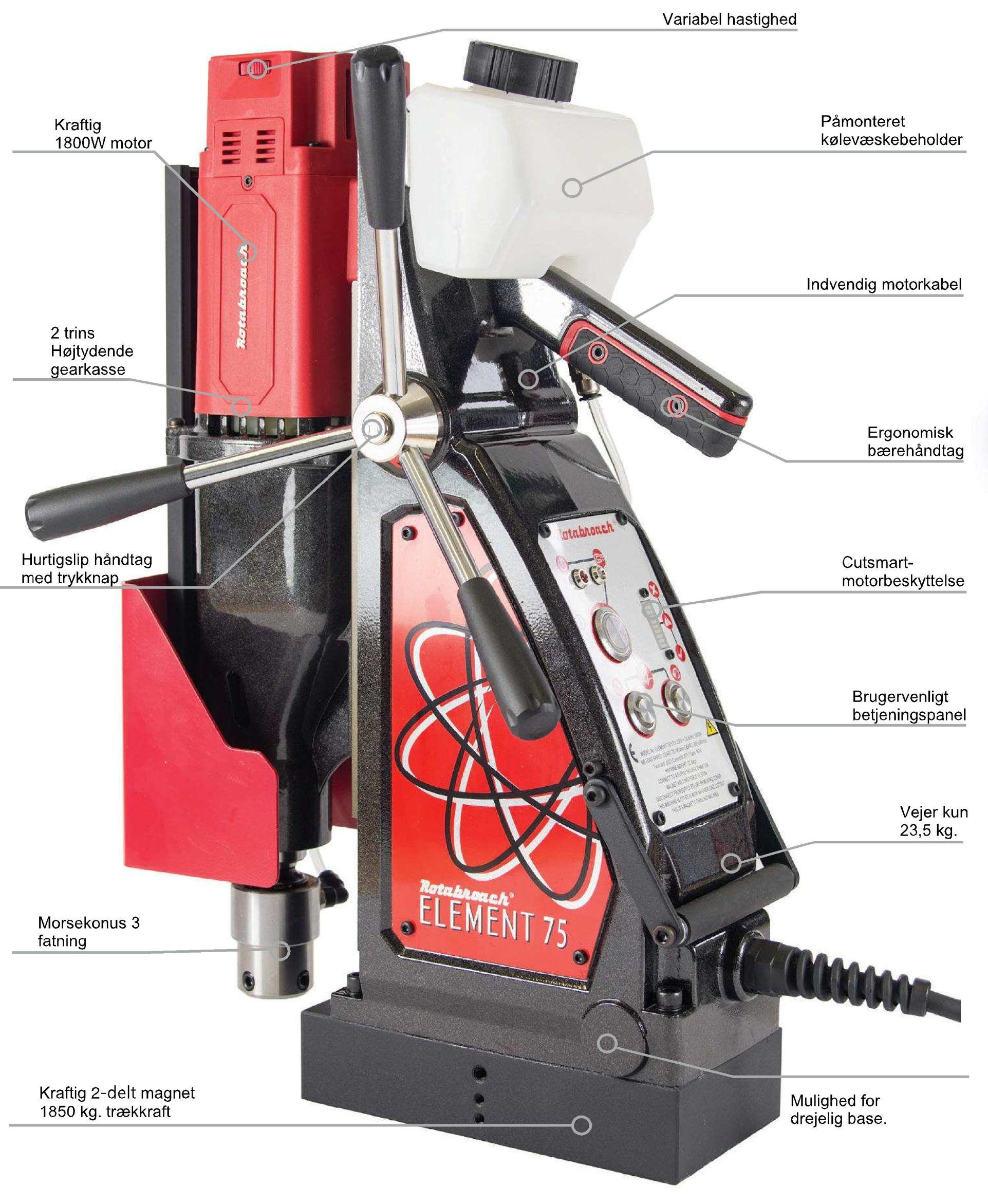Image of   Rotabroach Magnetboremaskine Element E75 , kernebor max. Ø75 mm