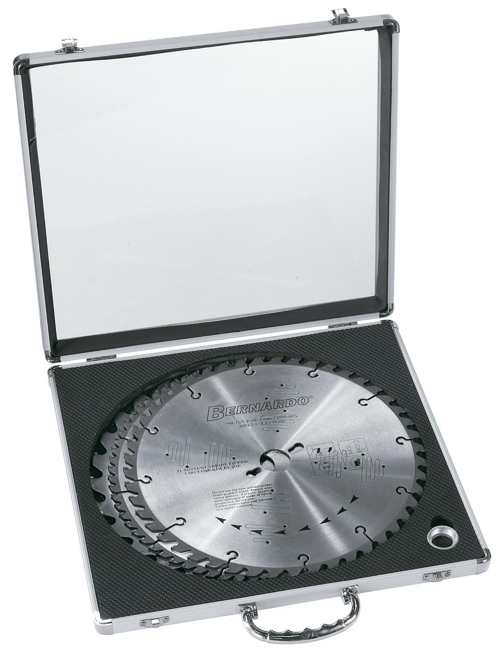 Sæt med rundsavsklinger(300 mm), i aluminiums kasse
